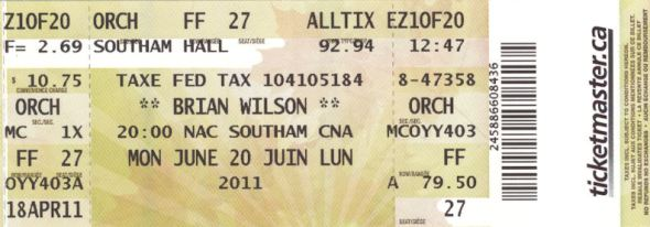Brian Wilson Ticket, Ottawa, Monday June 20 2011, VariousArtists