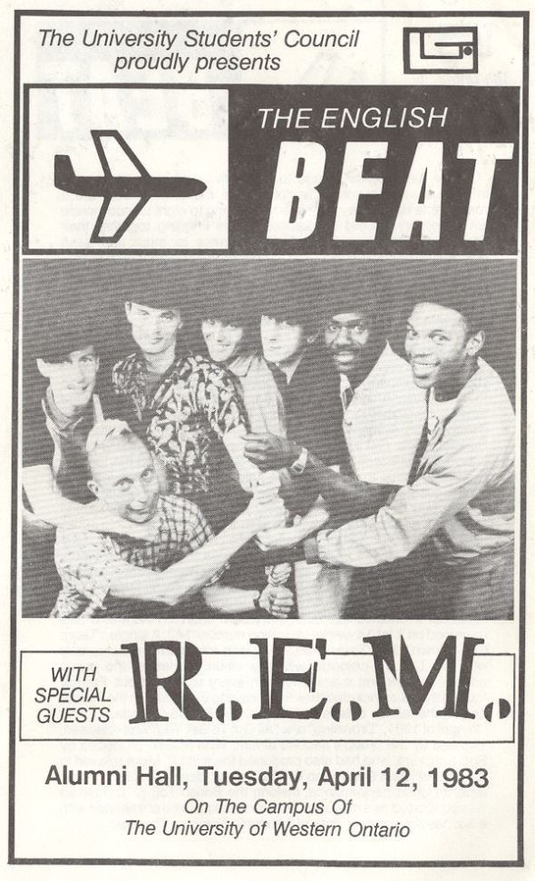 Beat R.E.M. Tuesday April 12 1983 London Ontario Alumni Hall Program Cover variousartists