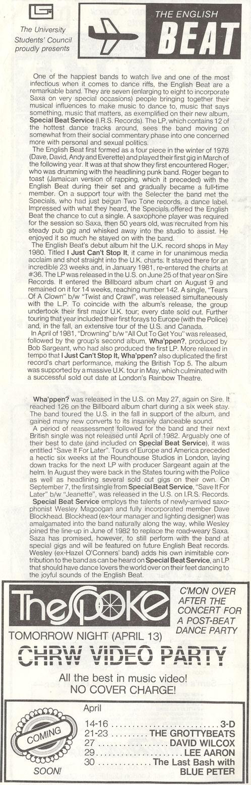 Beat R.E.M. Tuesday April 12 1983 London Ontario Alumni Hall Program inside variousartists