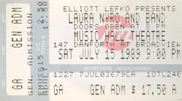 LauraNyro Ticket Toronto July 15 1989 variousartists