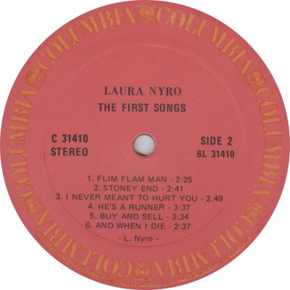 Laura Nyro First Songs Columbia Canada Label variousartists