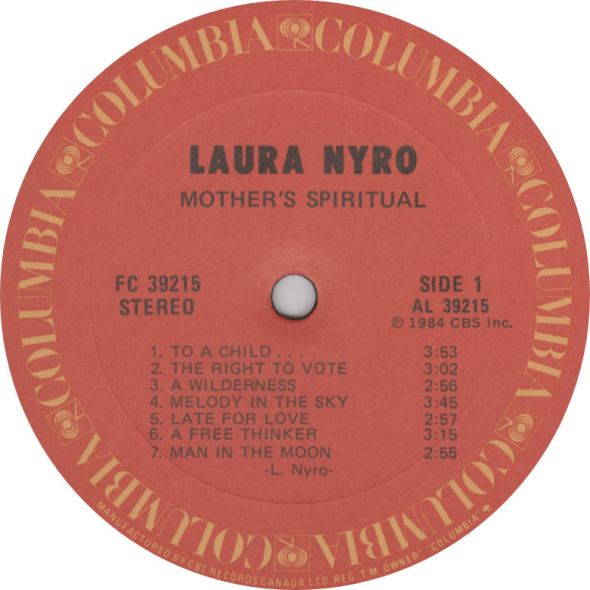 Laura Nyro Mother Spiritual Label Columbia
