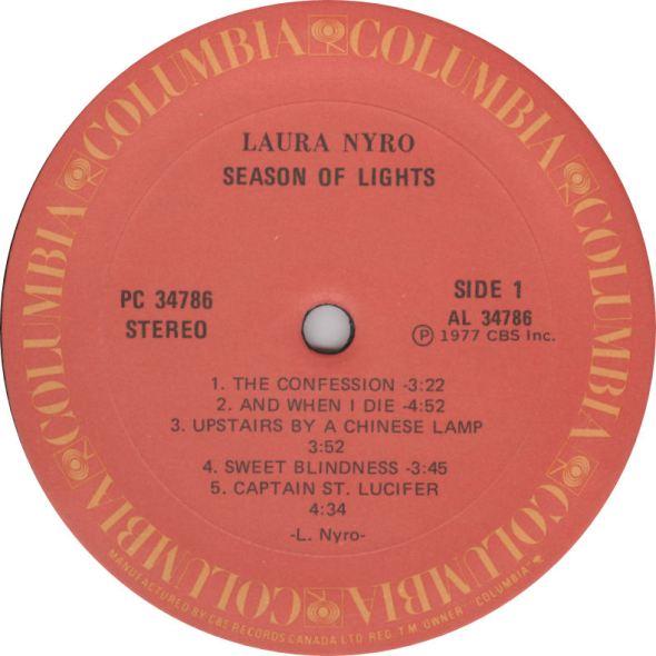 Laura Nyro Seasons of Light Label Columbia Canada