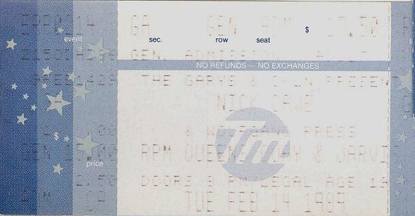Nick Cave Ticket 1989