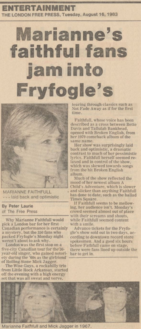 Marianne Faithfull, Fryfogle's, London Free Press Review August 16 1983
