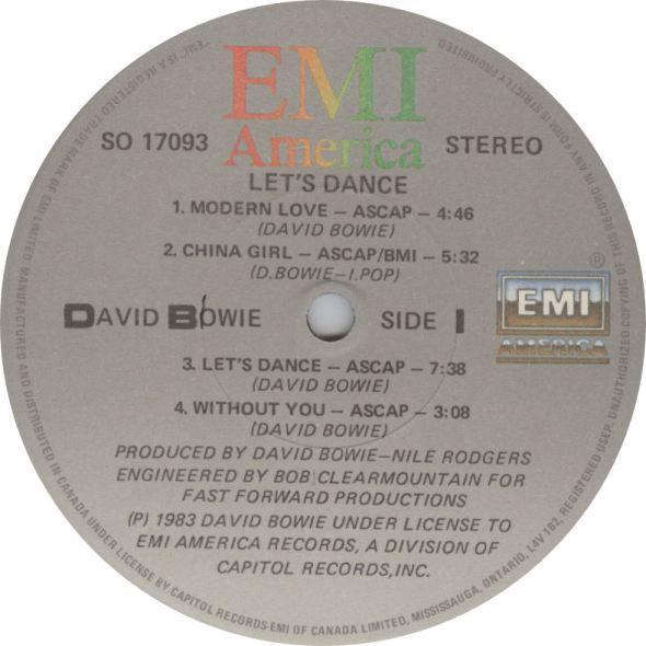 LABEL David Bowie Lets Dance Side 1