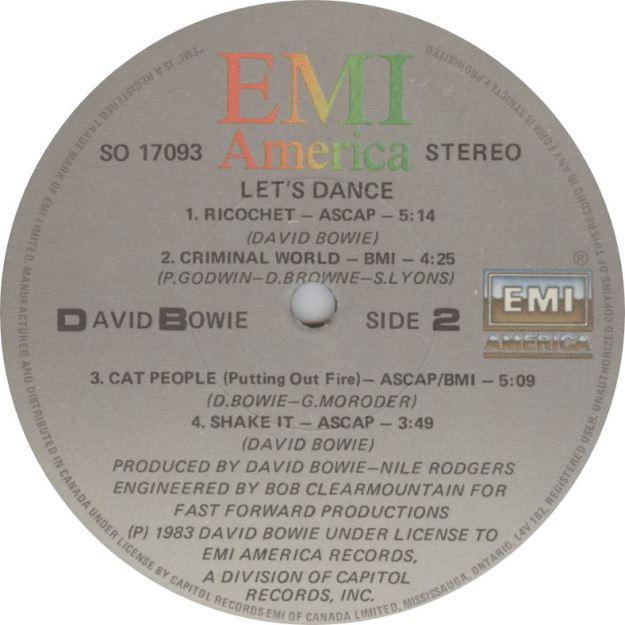 LABEL David Bowie Lets Dance Side 2