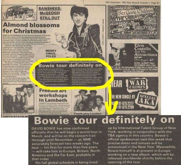 NME Dec 1982 Mark Almond Bowie tour for 1983 BLOG W HIGHLIGHT