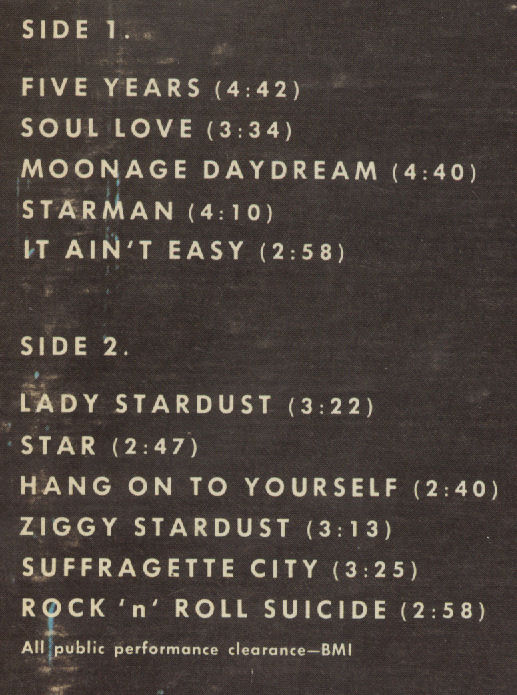 David Bowie Ziggy Stardust Track Listing on back of LP BLOG