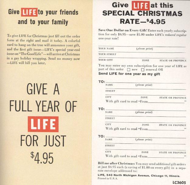 BLOG Life Subscription order card