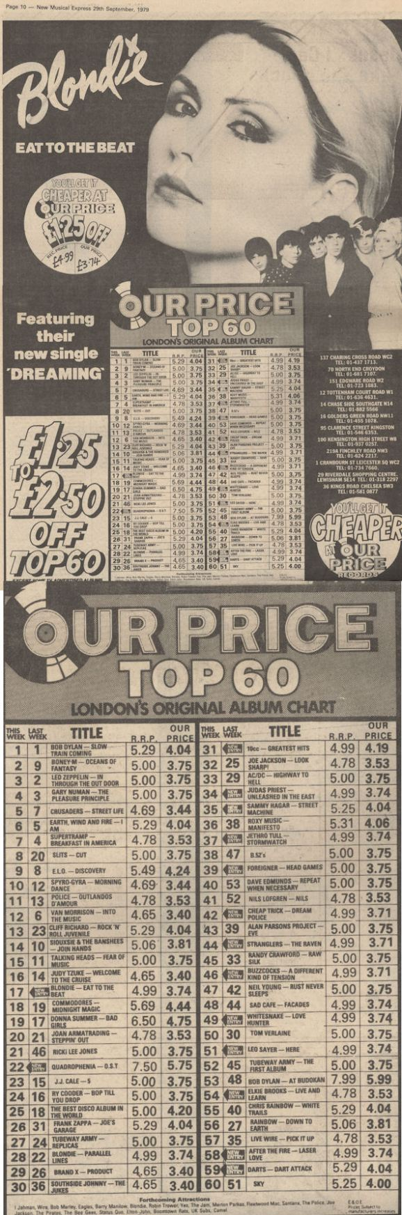 BLOG NME Sept 29 1979 OUR Price Blondie Ad and Top100