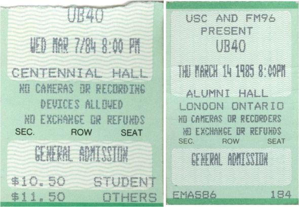 UB40 Tickets 84 85
