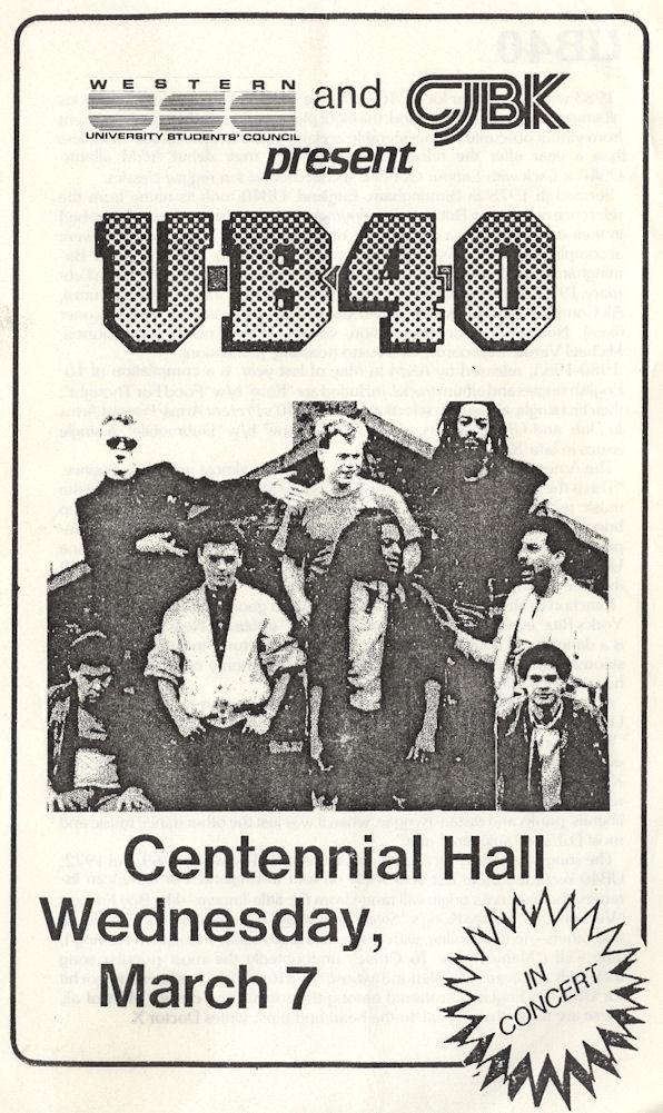 BLOG UB40 March 7 1984 CentHall Program Pg1